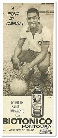 O rei Pelé fazendo propaganda do Biotônico Fontoura