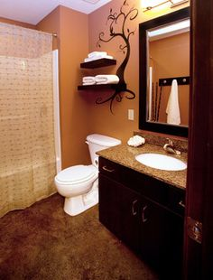 Traditional Bathroom small bathroom Design Ideas, Pictures, Remodel and Decor. This one uses floating shelves and a custom coat rack