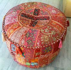 Indian patchwork pouf