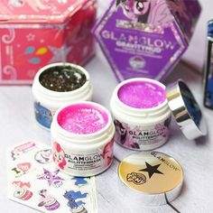 Glam Glow face masks in pink purple and black. Have you tried a glitter mask? Best Face Mask, Diy Face Mask, Face Masks, Glitter Face, Black Glitter, Chemical Skin Peel, Aloe Vera Face Mask, Glow Mask, Best Face Products