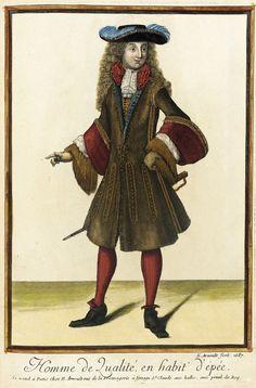 """1687 French Fashion plate """"Recueil des modes de la cour de France, 'Homme de Qualité, en Habit d'Épée'"""" at the Los Angeles County Museum of Art, Los Angeles"""