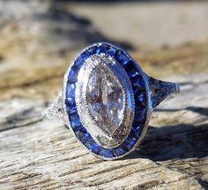 Vintage Antique 2.25ct Old European Cut Diamond Sapphire Unique Engagement Ring Art Deco 1920's Platinum Bezel Set by DiamondAddiction on Etsy