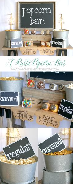 Popcorn bar idea / Popcorn bar for teen parties / Teen party ideas / Rustic Popcorn bar ideas / Popcorn chalkboard sign / Typewriter chalkboard sign / Chalkboard sign idea / wedding popcorn bar / Styled by Carolina from MINT Event Design / www.minteventdesign.com