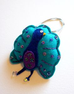 Beaded Peacock Decorative Felt Hanging Ornament by FudgeandPoppy, £6.00