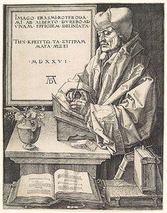 Albrecht Dürer, Erasmus of Rotterdam, engraving, 1526.