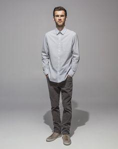 High Count Poplin Slim Fit Shirt (Grey) 16 Wale Cord Slim Fit Stretch (Cement)