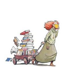 illustrated girl reading - Google Search