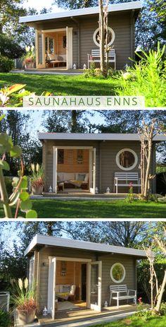 Sauna gris blanco: la casa de sauna Enns también puede estar en los colores de moda gris y blanco . - Sauna gris blanco: ¡La sauna Enns también puede brillar en los colores de moda gris y blanco! Backyard Decor, Small Backyard, Sauna House, House, Backyard Office, Diy Outdoor, House Paint Exterior, Backyard House, Best Exterior House Paint