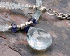 "Aquamarine Tanzanite Necklace 18"" Tanzanite Necklace, Aquamarine Bracelet, Aquamarine Gemstone, Aquamarines, Mermaid Jewelry, Graduation Gifts, Sterling Silver Rings, Mothers, Birthday Gifts"