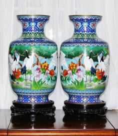 Antique-Chinese-Cloisonne-Enamel-Cranes-Large-Mirrored-Vases-Pair-Circa-1900s