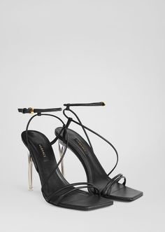 Antheia Sandals from Versace Women's Collection. Understated, yet elegant, these nappa leather sandals feature a clear, plexi heel. Strappy Heels, High Heels, Shoes Heels, Dress Shoes, Pumps, Leather Sandals, Black Sandals, Dior Sandals, Beautiful Heels