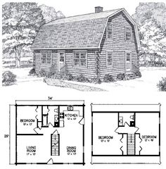 A classic gambrel roof design and a spacious comfortable interior combine to make the Bigelow a home for gracious living. Cob House Plans, Log Cabin Floor Plans, Sims House Plans, Cabin Plans, Small House Plans, House Floor Plans, Tiny House Cabin, Cabin Homes, Log Homes