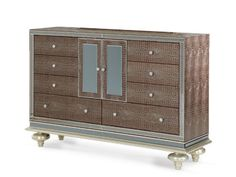 Hollywood Swank Upholstered Dresser - Amazing Gator by Aico