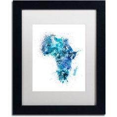 Trademark Fine Art Paint Splashes Map of Africa Canvas Art by Michael Tompsett, White Matte, Black Frame, Size: 16 x 20