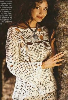 Ecru Flare Sleeve Openwork Top free crochet graph pattern