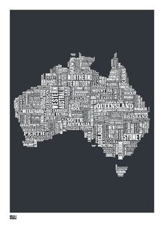 Type Map Australia Print