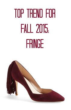 It's all about fringe this fall! This Loeffler Randall maroon suede pump is super trendy. Wear it with a black pencil skirt for a chic 9-to-5 office look, jeans & a white t-shirt for a weekend look, or a little black dress and a leather jacket for something edgier.