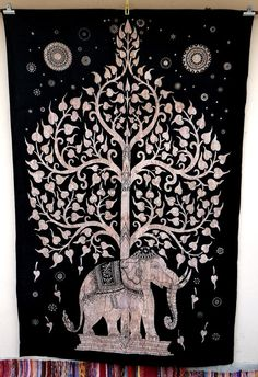 Elephant Tapestry,Tree of life, Tapesty Hippie Boho Wall, Psychedelic Star Mandala Tapestry Wall Hanging, Indian Twin Bohemian Tapestries