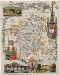 Worcestershire , England - a Map by Thomas Moule ( a circa 1848 print )