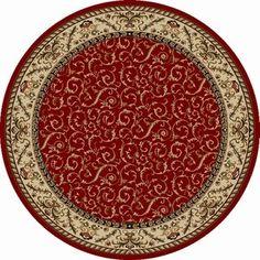 Admire Home Living Amalfi Scroll Area Rug - 5'3 round (Red) (Polypropylene, Oriental)