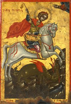 Saint of the day – April 23 – St George – Patron of England and Catalonia  Pictures of St. George usually show him killing a dragon to rescue a beautiful lady. The dragon stands for wickedness. The lady stands for God's holy truth. St. George is slaying the dragon because he has won the battle against the devil........click to read on A Yearbook of Saints | DEVOTIO