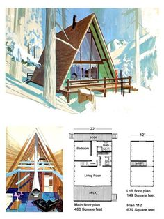 Classic Design for a Low-Budget A-Frame – Project Small House A Frame Floor Plans, A Frame Cabin Plans, Cabin Floor Plans, Tiny House Cabin, Tiny House Plans, Cabin Homes, Low Budget House, Triangle House, Vintage House Plans