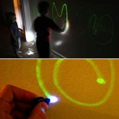 The wall is made by adding a few coats of Glow-In-The-Dark Brush-On Paint and any type of light or LED pen will light up the wall. This is a seriously fun project for the whole family and FangieTronics does a great job of explaining how to make it.