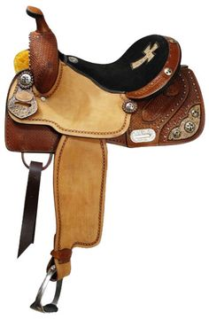Dark Horse Tack is proud to offer. Double T barrel style saddle. This saddle features basket weave tooling on skirts, pommel and cantle. Rough out fenders and jockies are accented with a tooled boar Barrel Racing Saddles, Barrel Saddle, Barrel Racing Horses, My Horse, Horse Tack, Horse Riding, Dark Horse, Horse Gear, Equestrian Boots