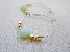 Hoop earrings with green czech beads Mixed metal hoop by KeyYoung, $18.00