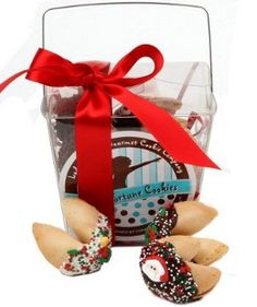Christmas Fortune Cookies - Take Out Pail of 6. Our Christmas Take Out Pail of 6 Fortune Cookies is the perfect gift for the holiday season.  Each crisp vanilla fortune cookie is dipped in your choice of Belgian Chocolates, rich golden Caramel or an assortment.  Our confectionery artisans decorate with hand made Royal Icing decorations for Christmas then sprinkle with red, white and green non-pariels and Holly and Berry confetti.