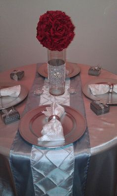 Image detail for -Table Decor Suggestions from Baskets with Bling (Part One) – Wedding Centerpieces Bling Centerpiece, Red Centerpieces, Wedding Table Centerpieces, Wedding Reception Decorations, Table Decorations, Centrepieces, Wedding Receptions, Red Silver Wedding, Bling Wedding