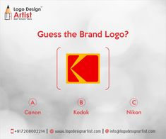 """GUESS THE BRAND LOGO HINT:- """"It is a world-renowned American company best known for its photographic film products and services. Established in 1889 by George Eastman, the company employs more than 17,100 people worldwide with total assets of US$ 4.67 billion as of 2011. The Red color of logo represents love, passion, courage, expression and defines the moments of life."""" #logodesignartist #logodesign #guessthebrandlogo #kodak #canon #nikon www.logodesignartist.com"""