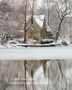 "Bucks County Fine Art Photo Print Photograph - ""Lake Afton in Winter"" - 11x14 Snow Library Yardley. $25.00, via Etsy."