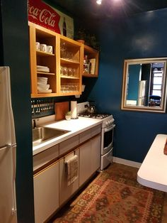Tabitha's Infusion of Color Wood Cabinets, Kitchen Cabinets, Teal Walls, Small Living, Natural Wood, Kitchen Dining, Small Spaces, Shelves, Color