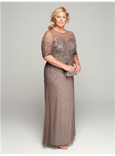 Melbourne Newest Sheath/Column Scoop 1/2 Sleeves Sequin Floor-length Tulle Mother Of The Bride Dress