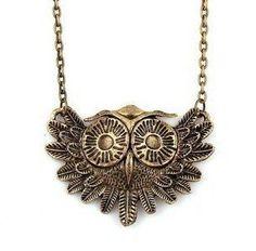 Vintage Owl Necklace Long Pattern Necklace
