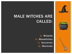 Halloween Trivia: Male witches are called Warlocks. Halloween Trivia, Halloween Facts, October Calendar, Male Witch, Christmas Party Games, Lunch Time, Witches, Activities, Craft
