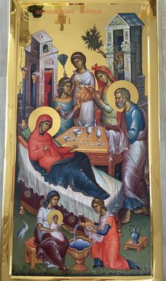 The birth of Mary the Virgin Religious Pictures, Religious Icons, Religious Art, Byzantine Icons, Byzantine Art, Nativity Of Mary, Giraffe Pictures, Religion, Blessed Mother Mary