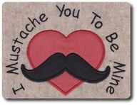 Applique Valentine Mustache Design Includes 3 by 8clawsandapaw, $1.95