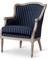 Baxton Studio Charlemagne French Accent Chair Blue Stripe