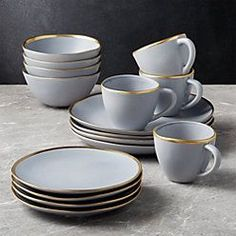 Addison Grey Gold Rim Dinnerware Set at Crate and Barrel Canada. Discover unique furniture and decor from across the globe to create a look you love. Modern Dinnerware, Dinnerware Sets, Black Dinnerware, Contemporary Dinnerware, Crate And Barrel, Terracotta, Dish Sets, Plates And Bowls, Kitchen Gadgets