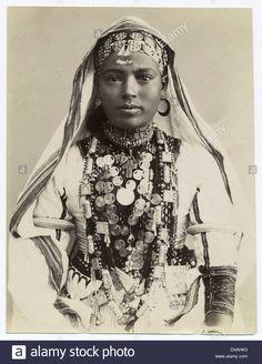 Egyptian  Girl in ceremonial dress. 1870