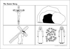 A set of simple black and white pictures which can be cut out and sequenced. Alternatively, they can be used as stimulus for children's own written retelling of the story. Preschool Activity Sheets, Easter Activities For Preschool, Kindergarten Activities, Orthodox Easter, Story Sequencing, Greek Easter, Easter Story, Easter Printables, Sunday School Crafts