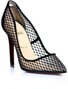 cbfbabe231ceb1 Christian Louboutin Black Pigaresille Shoes These black and transparent  mesh court shoes have a point-toe, black suede piping edges and a black  suede back ...