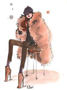 Izak Zenou fashion illustration.