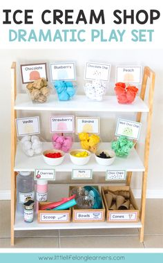 Set up an ice cream shop in your dramatic play and imaginative play space Ice cream shop dramatic play Imaginative play ideas for toddlers, preschoolers and kindergarten children Posters, signs, labels and printables Role play in the early years c Dramatic Play Area, Dramatic Play Centers, Preschool Dramatic Play, Dramatic Play Themes, Early Years Classroom, Year 1 Classroom, Early Years Teacher, Play Based Learning, Learning Games