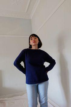 Guildo R Long Sleeve Cotton Top Saint James, Bell Sleeve Top, Navy Blue, Take That, Turtle Neck, Pullover, Denim, Sweatshirts, Long Sleeve