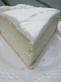 My now favorite White Cake recipe - very moist and good even without icing. Tastes like wedding cake!