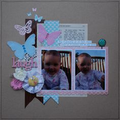 Such a cute layout idea. Baby scrapbooking layout - Scraps of Five.
