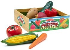 """Tempting your children to try some delicious vegetables will be much easier once they have played with these realistically sized """"fresh from the farm"""" veggies! There are 7 pieces packed in this crate of harvested seasonal favorites. This durable, molded Avocado Dip, Avocado Recipes, Fresh Vegetables, Veggies, Play Food Set, Melissa & Doug, Farmers Market, The Ordinary, Yummy Food"""